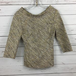 Boden Tailored Yellow Black  Blush Blouse Size 4